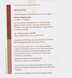 Einladung - Gedenkzeichen Martha Wygodzinski