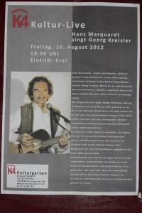 Plakat - Hans Marquardt spielt Georg Kreisler - K4 - Kulturgarten