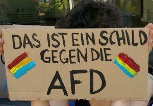 Schild gegen die AFD